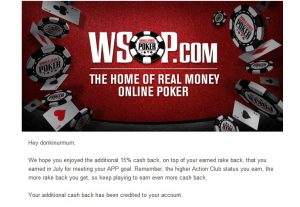Surprise cashback on wsop