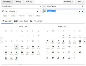 Google Flights calender