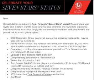 Seven Stars Status Email from Total Rewards
